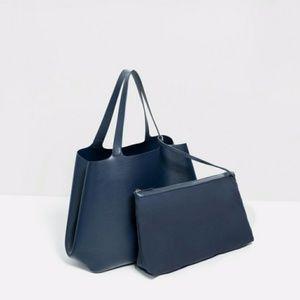 Zara Contrasting Tote bag navy blue ( 4318 )